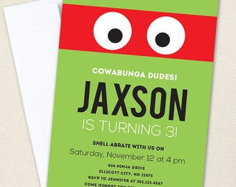Turtle Birthday Party Invitations / Ninja Party Invitations - Professionally printed *or* DIY printable