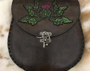 Scottish Thistle Leather Sporran