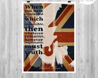 Sherlock Holmes, Sherlock paper poster, Movie poster, Typo Art, British Art, Sherlock Quote, UK, Typographic print, Home Decor