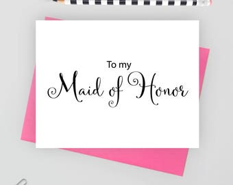 To my maid of honor card, wedding stationery, wedding stationary, folded note cards, folded wedding cards, wedding note cards, wedding card