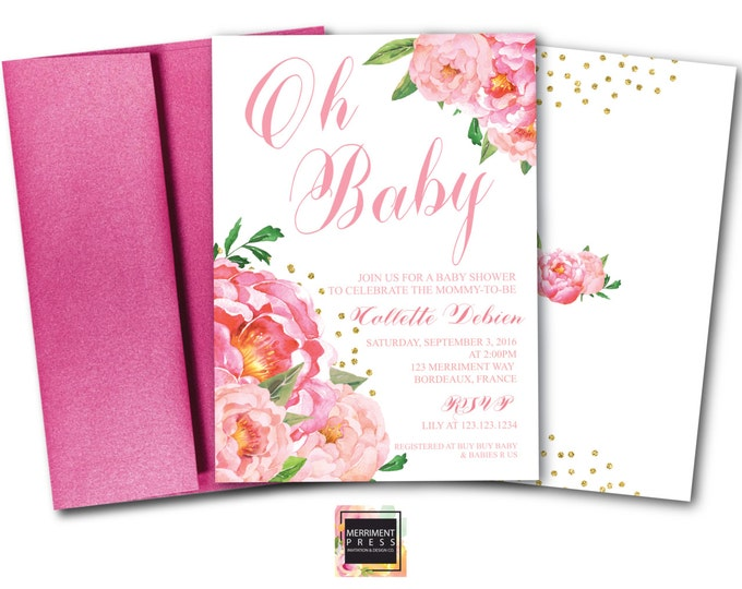 Oh Baby Shower Invitation // Peony Invitation // Floral // Peonies // Peony // Baby Shower // Pink // Gold Glitter // BORDEAUX COLLECTION