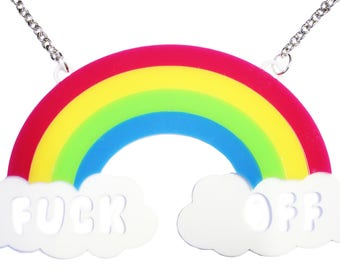 Extra Large Fuck Off Rainbow Perspex Necklace - Statement Jewellery Neon Funny Bright Sweary