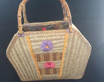 Cayman Silver Thatch basket handbag