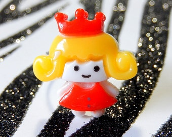 Kawaii Girl Ring, Princess w Crown, Red Yellow Adjustable Ring, Under 5