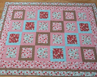 Floral lap quilt, square in square 69 x 51 handmade