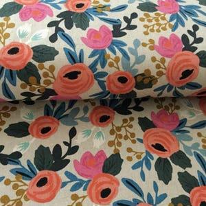Rifle Co. Les Fleurs fabric, floral cotton canvas, Fabric by the yard, Rifle floral, cotton canvas, upholstery, les fleurs rosa, natural
