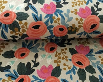 Rifle Co. Les Fleurs fabric, floral cotton canvas, Fabric by the yard, Rifle floral, cotton canvas, upholstery, les fleurs rosa, natural