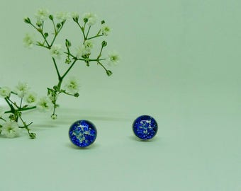 Pet ashes jewellery. Memorial studs. Memorial jewellery. Ashes in glass studs. Cremation ashes jewellery. Pet ashes studs.