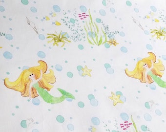 Mermaid with Bubbles whimsical cotton fabric FatQuarter 18x21 In Stock