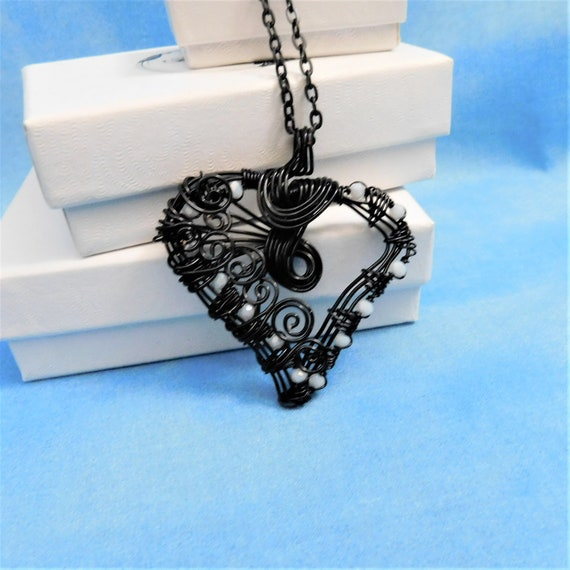 Black Wire Heart Necklace Artisan Crafted Unique Woven Wire Wrapped Pendant Artistic Handcrafted Wearable Art Jewelry Present Idea for Women