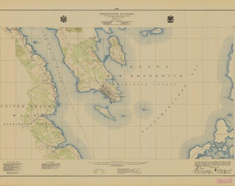 International Boundary Map - St. Croix River and St. Andrews - 1925