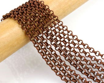 Copper Chain : 16 feet Antique Copper Petite Rolo Chain / Red Copper Cross Chain - 2.5mm x .8mm -- Lead, Nickel & Cadmium Free 70316