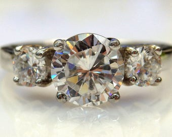 Sterling Silver Round Cubic Zirconia in a Row Ring