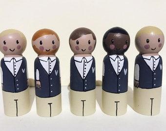 Groom peg doll cake topper, little wedding box, wedding gift