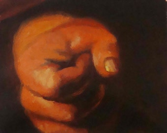 Detail of a Hand, Original Small Oil Painting - Master Copy  after Caravaggio