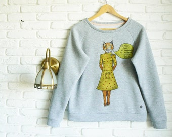 Fantastic Mr Fox Sweater for Women Gift for her Gray Sweater Hand-painted Sweatshirt Fox Clothing Womens Sweatshirt Girlfriend Gift