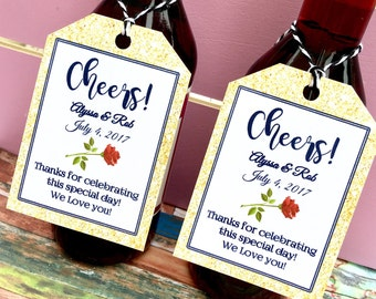 Navy and Gold Glitter Favor Tags for Small Wine or champagne Bottles - Customizable Tags - Cheers - Beauty and the Beast Favors