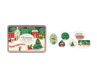 Cavallini Vintage Christmas Gift Tag Tin Set of 36 Glittered Xmas Tags