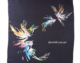 Scarf silk firework black dark VINTAGE 1960s JEANNE LANVIN radiant colors