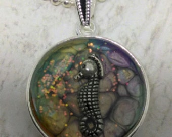 Seahorse Pendant - Seahorse Necklace - Hand Made Painted