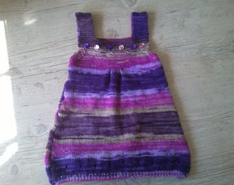 Dress 12 months girl summer knitted by hand in shades of purple