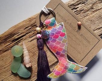 Mermaid tail keyring bag charm.