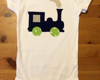 Train Bodysuit, Choo Choo Birthday, Train Birthday, Navy Train
