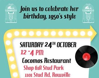 Birthday Invitations 60th Milestone Party Invite 50s theme Fifties