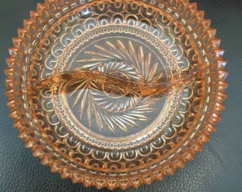 Vintage Crystal Candy/Relish Dish Mint Condition 1930's  SOLID HEAVY PIECE - Beautiful Color