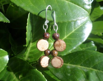 Bronzite beads, coconut and 925 Sterling Silver earrings