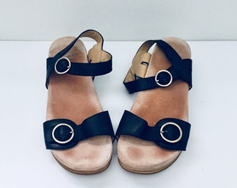 Clogs Sandals Black Leather Ankle Straps by Dansko 9 40