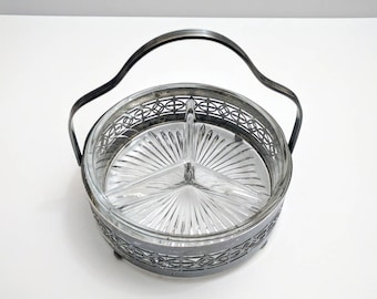 Mid-Century Divided Glass Candy Dish with Forbes Silverplate Basket