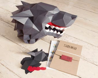 Wolf mask, paper wolf, DIY KIT, werewolf costume, papercraft 3d, Mask for masquerade, festival mask, big wolf mask, game of thrones.