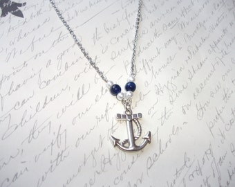 Anchor necklace with blue agates and pearls