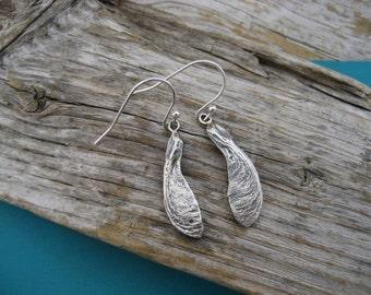 Tiny single maple seed earrings