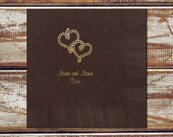 Personalized Napkins Rustic Wedding, Rope Hearts, Luncheon Napkins, Personalized Luncheon Napkins, Color Options Available