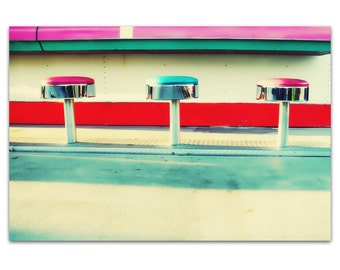 photography, mid century modern, carnival, summer, abstract, modern, red, pink // Trio, 16x24 photograph