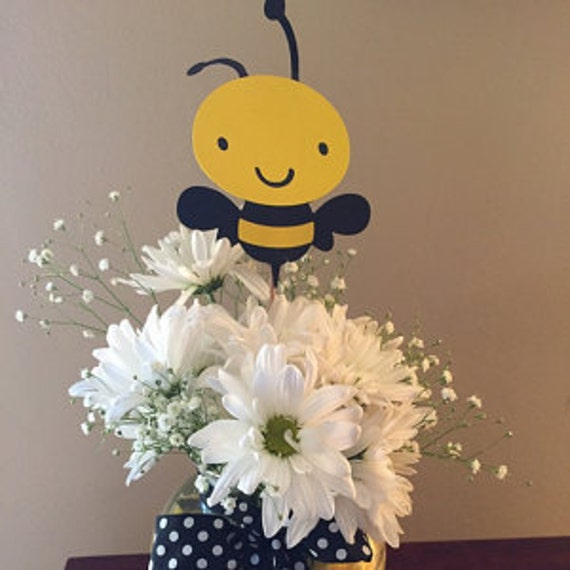 6 Piece Bumble Bee Centerpiece Sticks Birthday Baby Shower Mommy To Table Decorations Paper Goods