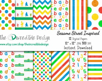 Sesame Street Inspired digital paper pack for scrapbooking, Making Cards, Tags and Invitations, Instant Download