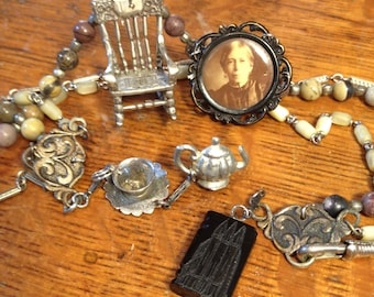 Rocking Chair Book Necklace  Antique Antique Assemblage Photo Whitby Jet fob