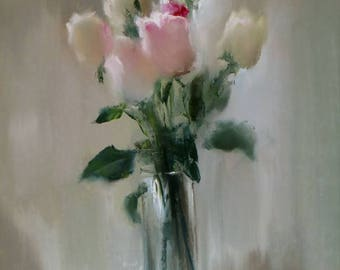 giclee of original oil painting, roses in a vase,серый,натюрморт