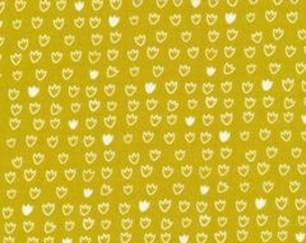 Tulip Citron - Vignette Collection -Cloud 9 Fabrics - Organic Quilt fabric by the Half-Yard or Full Yard
