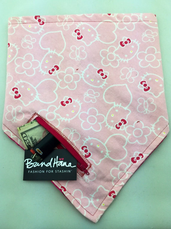 Here Kitty Kitty: HK print on soft pink Flannel and Fuschia Satin Reversible Bandana w/ Zippered Stash Pocket