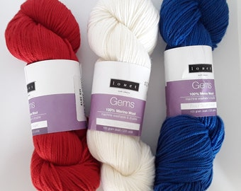 Red White and Blue sport weight yarn for that 4th of July gift!!