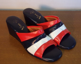 Vintage 1960's/1970's  Red, White & Blue Shoes