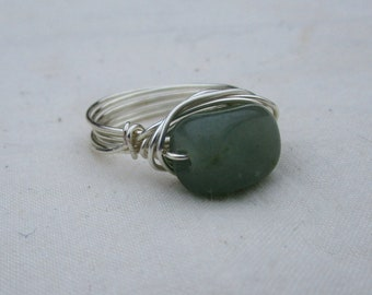Green Stone Wire-Wrapped Ring