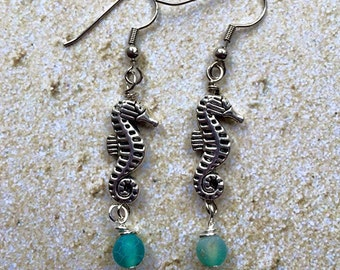 Silver Seahorse Earrings with Frosted Sea Glass Beads