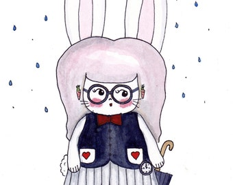 "The White Rabbit Illustration Print - 8.5""x11"" or 5""x7"""
