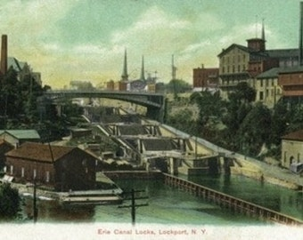 Lockport, New York - View of the Erie Canal Locks (Art Prints available in multiple sizes)