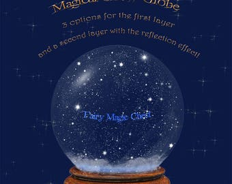 Snow Globe overlay, digital, clipart that allows you to do many versions for Christmas. Png on transparent background. With or without snow